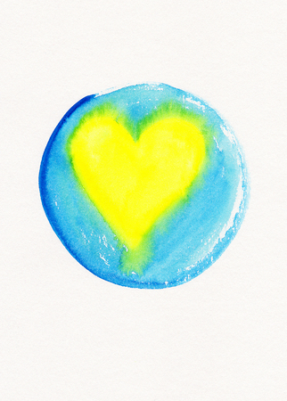 yellow heart: Yellow heart in blue circle frame watercolor painting