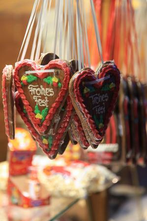 Christmas gingerbread hearts Stock Photo