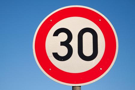 Speed limit traffic sign 30