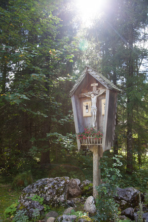 An old wooden Bavarian wayside cross