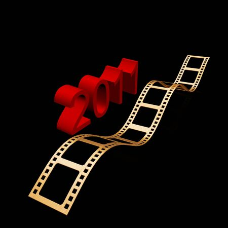 academy awards: 3D golden film strip with light effect. Stock Photo