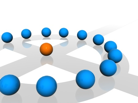 Conceptual network of spheres  photo