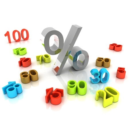 3D percent numbers on white background for shopping days