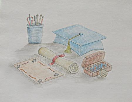 graduation cap with supplies