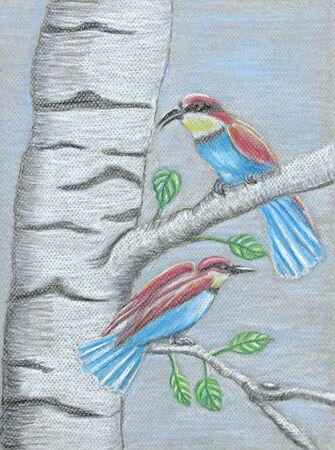 ツリーに 2 つのカラフルな鳥