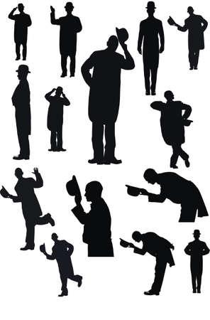 Mężczyźni z kapelusza w sylwetka Ilustracje wektorowe