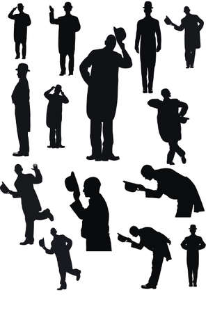 bowler hat: Men with Hat in silhouette Illustration