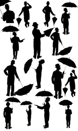 bouliste: Les hommes avec umbrealla en silhouette