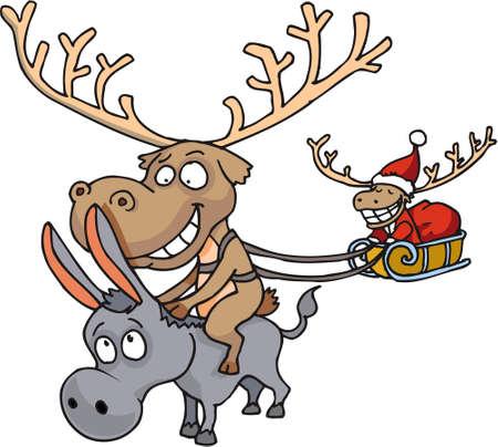 Reindeer riding donkey Vector
