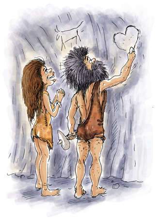 A caveman is drawing heart to her lover in a cave Imagens