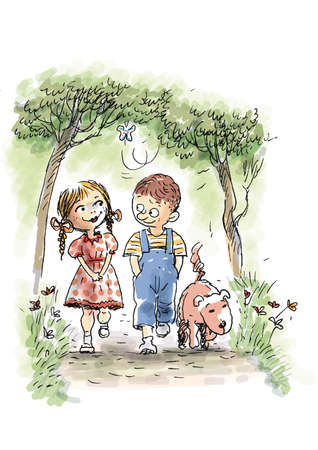 A boy and a girl and a dog walking in the park photo