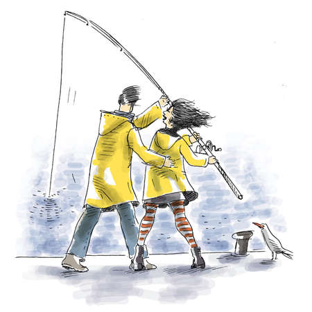 A couple are fishing with their yellow raincoats on photo