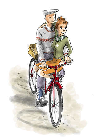 unworried: A couple on the bike cycling Stock Photo
