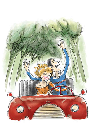 Happy couple are driving a convertible car in the countryside