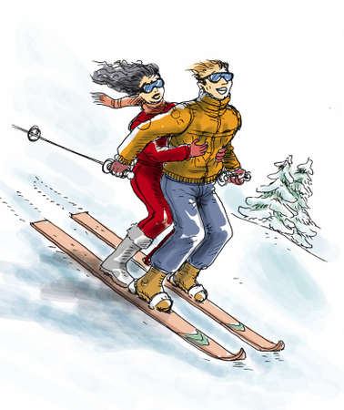A couple are skiing on the same skiboards