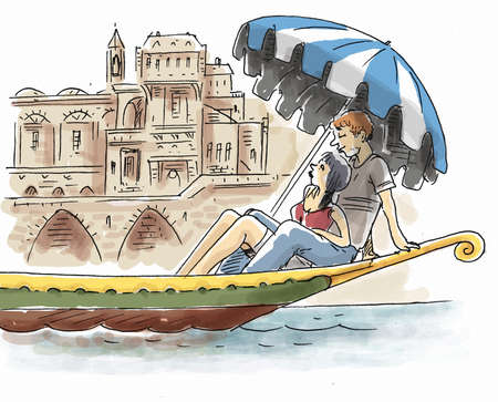 Young lovers on gondola in Venice Stock Photo