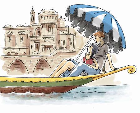 Young lovers on gondola in Venice Zdjęcie Seryjne