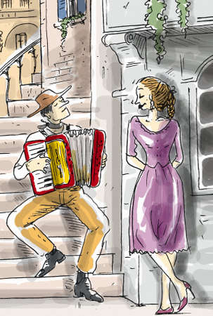 A Man plays accordion to a woman and sitting on the stairs