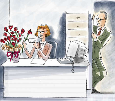 an office worker has received flowers by her male colleague