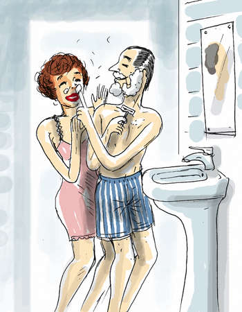 a couple are playing in the bathroom while the man is shaving photo
