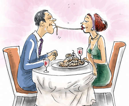 A couple in the restaurant sharing spaghetti