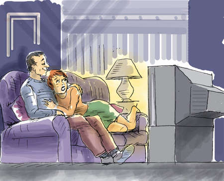 A couple watching television on the sofa