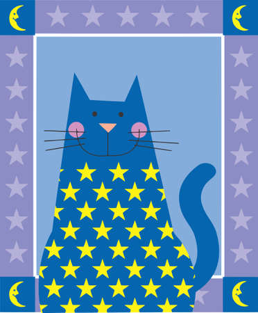 pink pussy: A blue cat is decorated with stars Stock Photo
