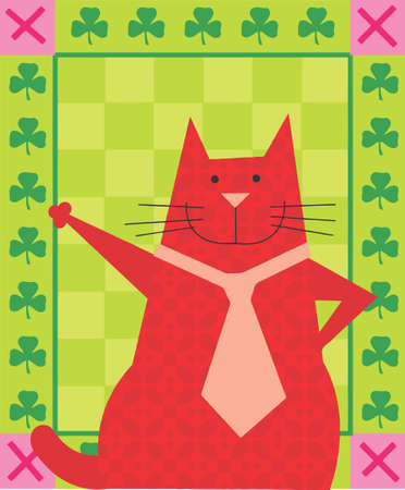 red cat with a tie in a decorative design