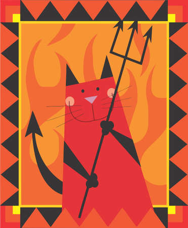 Devil cat is smiling by holding the trident photo