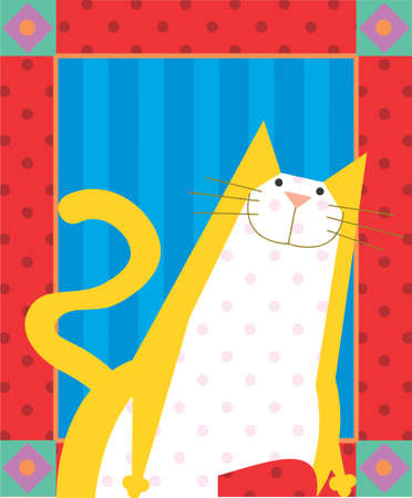 Yellow cat with dots are smiling in a greeting card design Stock Photo