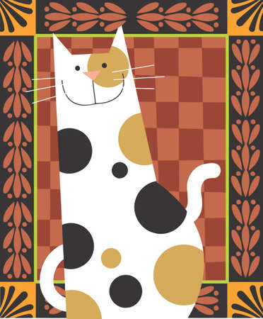 spotty cat is smiling in a decorative background