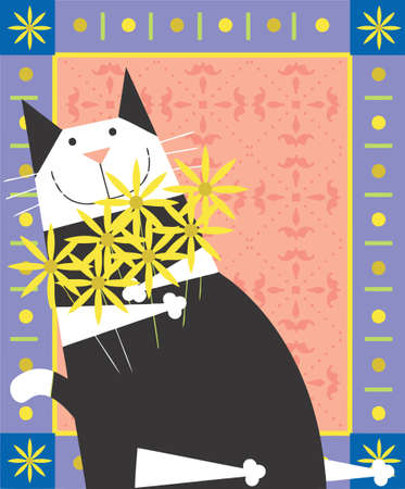 black   white cat is smiling in a decorative design