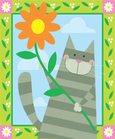 cute gray cat is holding a flower Stock Photo - 16934168