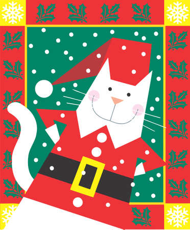christmas pussy: Christmas Cat dressed as Santa is smiling in a decorative illustration