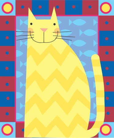 yellow cat is smiling in a greeting card design Stock Photo