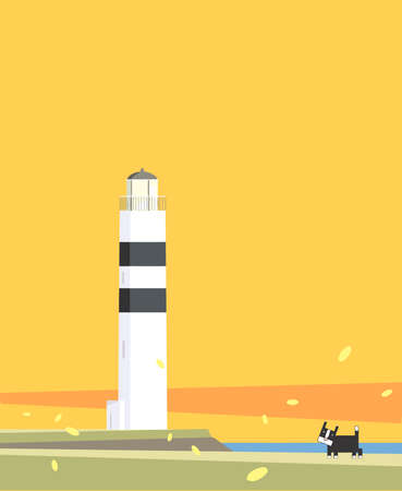 A wondering black and white cat is standing next to a lighthouse while the leaves are flying in a windy autumn day Stock Photo - 16934177