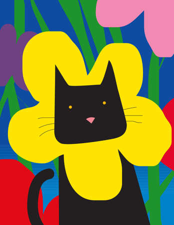 A black cat with a yellow flower collar
