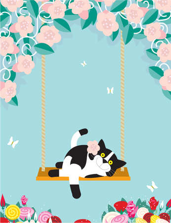 A black and white cat is resting on a swing amongst flowers Stock Photo - 16898779