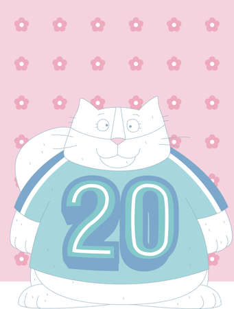 A cat is wearing a t shirt with 20 number is on with pink background and flowers