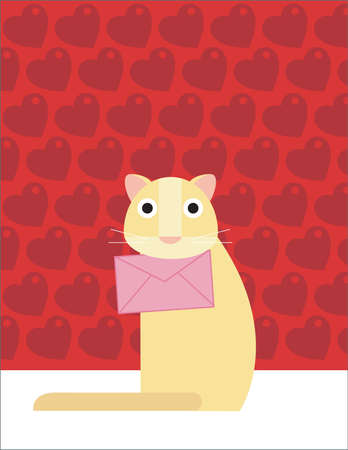 A yellow cat is holding a pink love letter on it s mouth photo