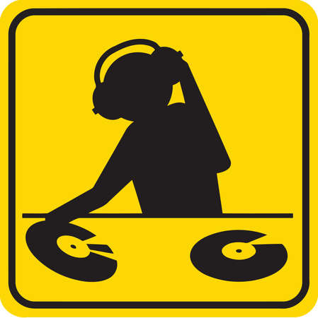 A silhouette illustration of a DJ