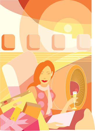 A lady is in the business class of the plane photo