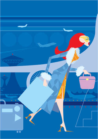 red haired woman: A red haired woman is walking at the airport with bags