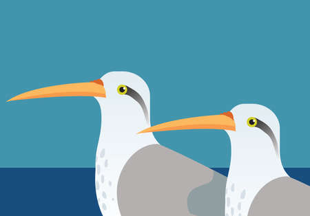 migrating: an illustration of two tropical long beaked birds Stock Photo