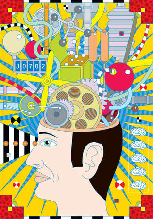 An abstract illustration of a opened human head and with surreal details