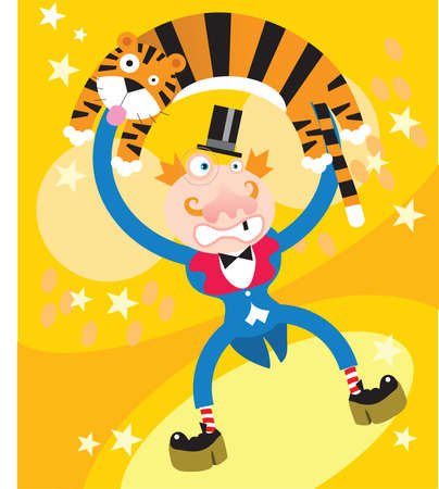 stylistic embellishments: A tiger and a man are performing in circus