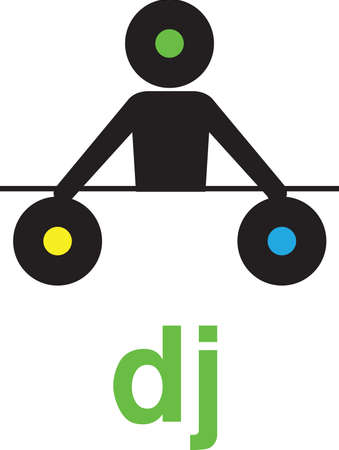 A black silhouette vinyl headed dj is holding 2 vinyls