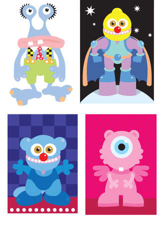 a digital illustration of four monster cartoon characters Stock Illustration - 16973847