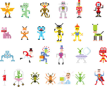 web robot: A group of pixel illustrations with different images