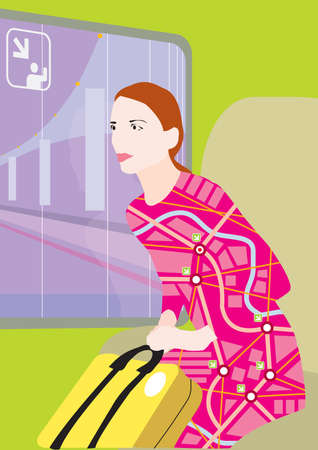 eurostar: A map designed dress woman is pushing her yellow luggage at the airport or train station